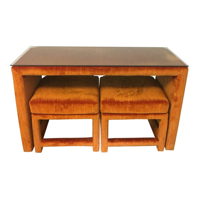 1970s Orange Velvet Console Table With Parsons Style Ottomans, Set of 3 For Sale