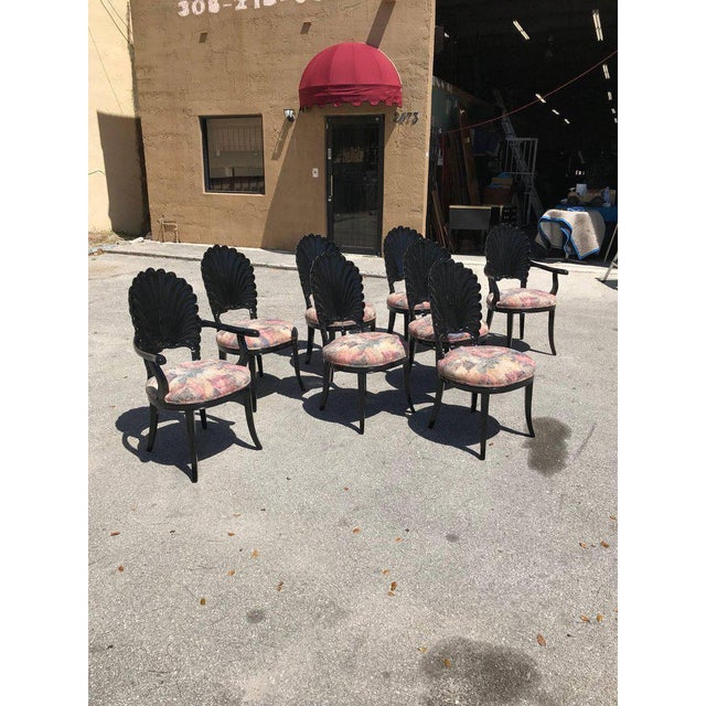 Set of 8 Italian ebonized Venetian Grotto Shell Back Dining Chairs, wood framed chairs having Shell Back design with silk...