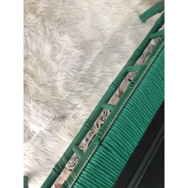 Emerald Green Bamboo Rattan Coffee Table For Sale - Image 10 of 11