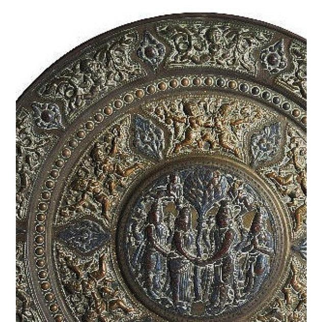 19th Century Tanjore Brass Plaque #1, South India For Sale - Image 4 of 10