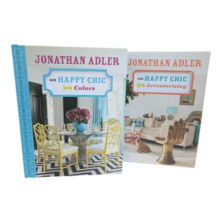 A Pair- Jonathan Adler Happy Chic Decorator Styling Hardback Books For Sale