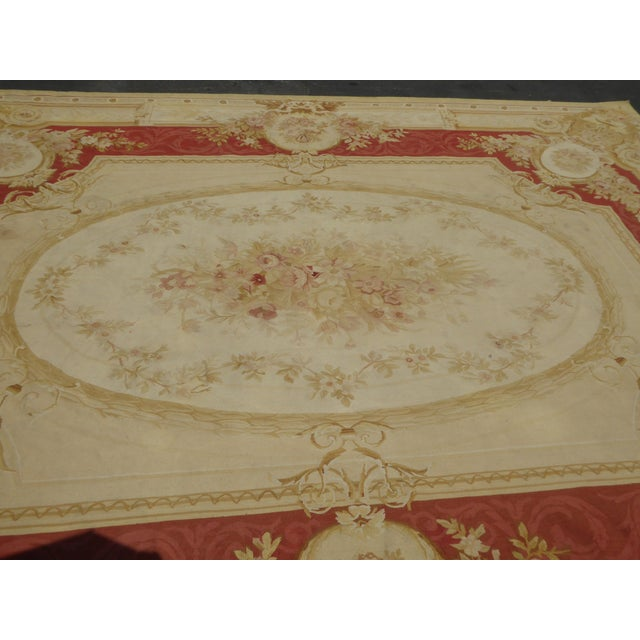 Vintage Tan Floral Aubusson Area Rug - 8′6″ × 11′7″ - Image 10 of 11