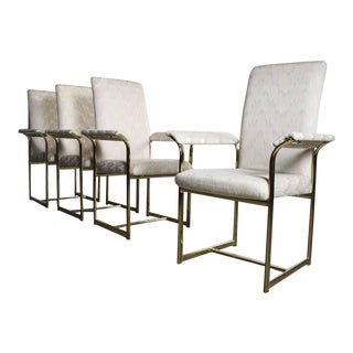 1970s bBrass Dining Chairs Attributed to Milo Baughman - Set of 4