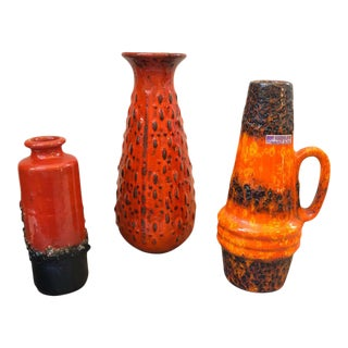 1970s Mid-Century Modern Lava Keramik Vases and Pitchers - Set of 3 For Sale