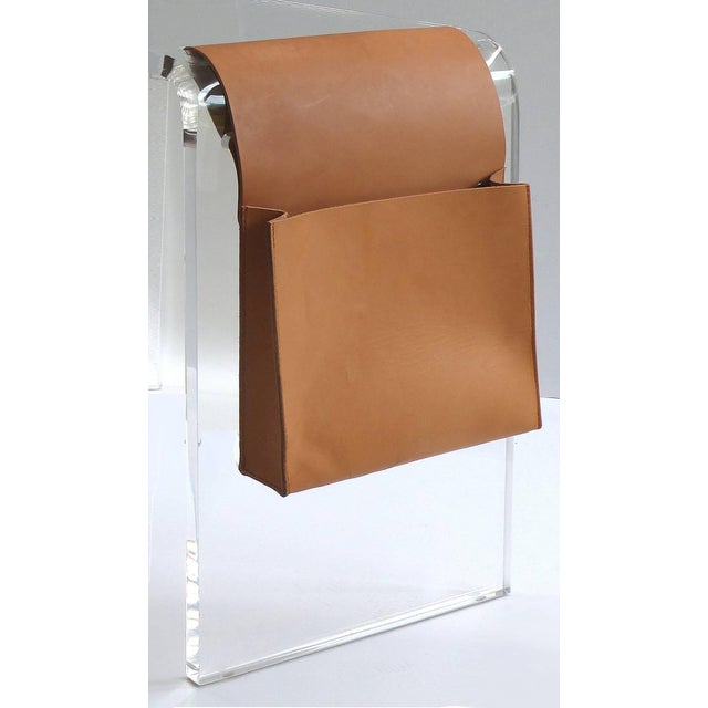 Custom Lucite Waterfall Side Table with Leather Magazine Pocket Offered for sale is a custom-made waterfall Lucite side...