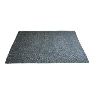 Contemporary Felt Ball Wool Rug in Grey & Green - 6′6″ × 10′ For Sale
