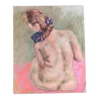 Vintage Original Female Nude Pastel Life Study Drawing For Sale