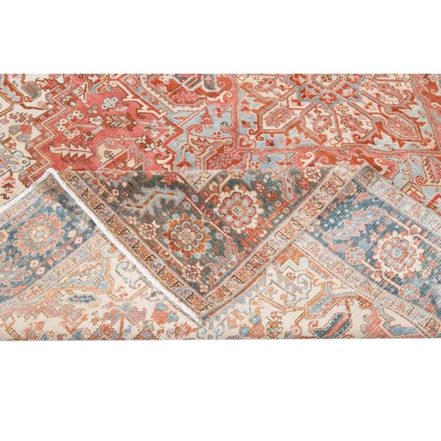 Early 20th Century Antique Heriz Wool Rug For Sale - Image 9 of 11