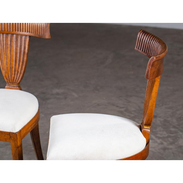 Antique 1890s Italian Empire Walnut Neoclassical Chairs - a Pair For Sale In Houston - Image 6 of 13