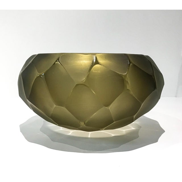 Alberto Dona Chiseled Murano Bowl in Olive For Sale - Image 9 of 9