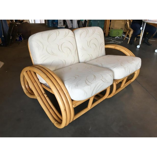 1950s Restored Three-Stranded 3/4 Round Pretzel Sectional Loveseat Sofa For Sale - Image 5 of 8