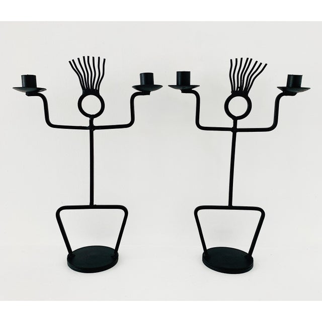 1970s Wrought Iron Sculptural Candle Holders - a Pair For Sale In Minneapolis - Image 6 of 6