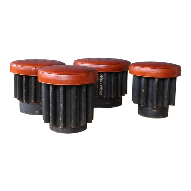Industrial Gear Cog Stools, California, 1940s For Sale