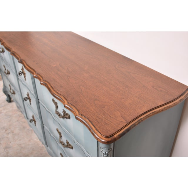 French Provincial French Provincial Nine Drawer Triple Dresser For Sale - Image 3 of 13