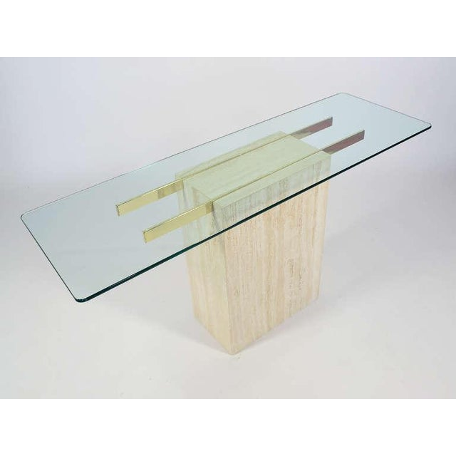 Italian Travertine and Glass Console Table by Ello For Sale - Image 11 of 11