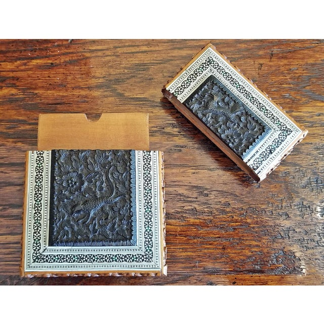 19th Century Vintage Anglo Indian Sadeli Mosaic Calling Card Case For Sale - Image 9 of 11