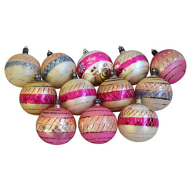 Pastel Pink 1960s Christmas Ornaments w/Box - Set of 12 - Image 7 of 7