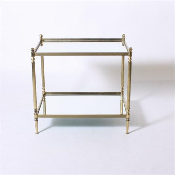 Mid-Century Modern Pair of Brass Tables with Mirror Tops C. 1950 For Sale - Image 3 of 4