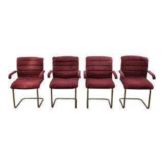 1980s Vintage Chromcraft Brass Cantilever Chairs - Set of 4 For Sale