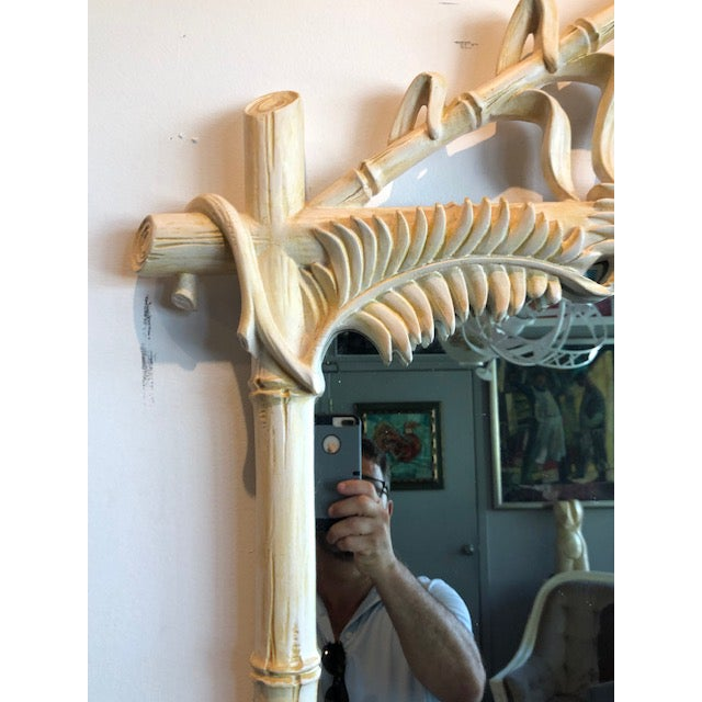 Gampel-Stoll Hollywood Regency Lacquered Pineapple Faux Bamboo Wall Mirror For Sale In Miami - Image 6 of 13