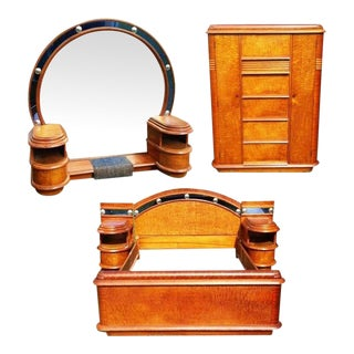 Grand Hollywood Art Deco Cobalt and Bird's-Eye Maple Bedroom Set For Sale