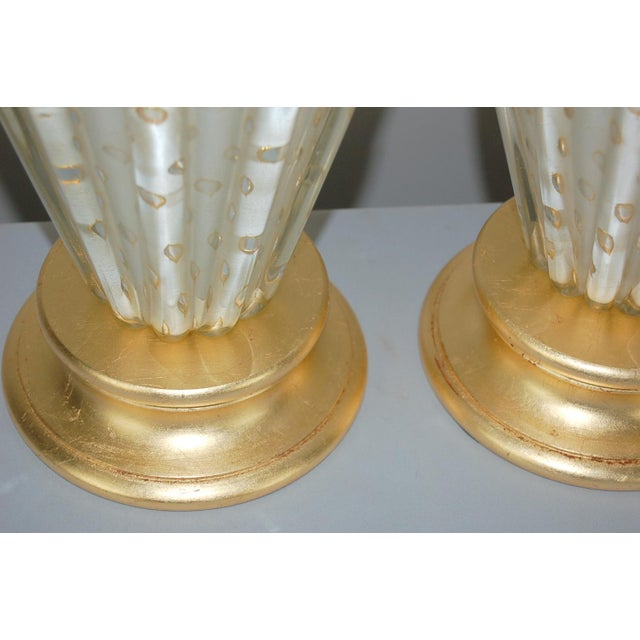 Brass Vintage Murano Glass Table Lamps White Bubbles For Sale - Image 7 of 13