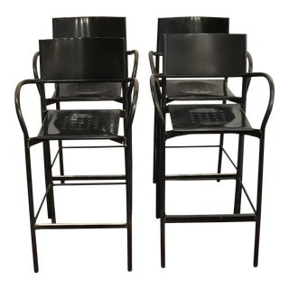 1980s Vintage Carlo Bertoli Segis Breeze Bar Chairs- Set of 4 For Sale