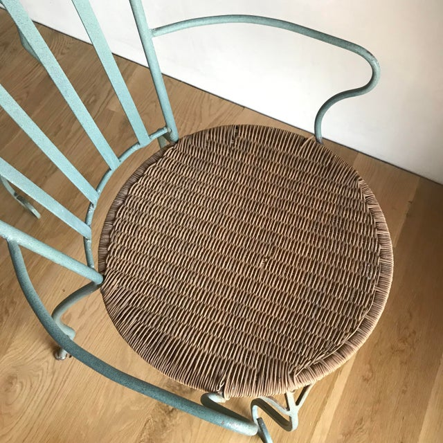 Vintage Verdigris Iron and Woven Rattan Dining or Patio Chairs-Set of Four For Sale - Image 11 of 13