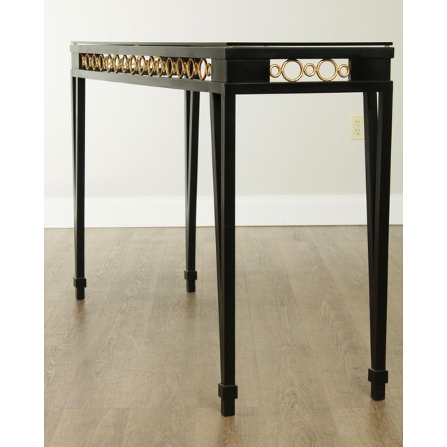 Hollywood Regency Style Black & Gold Glass Top Console Table For Sale - Image 4 of 13