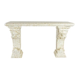 Antique Faux Stone Console Table For Sale