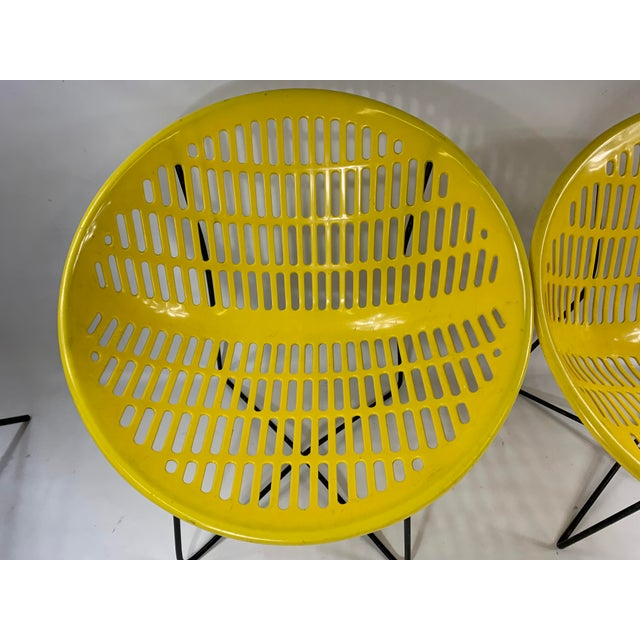 Yellow Mid Century Howard Johnson Hotel Yellow Solar Lounge Chairs - a Pair For Sale - Image 8 of 11