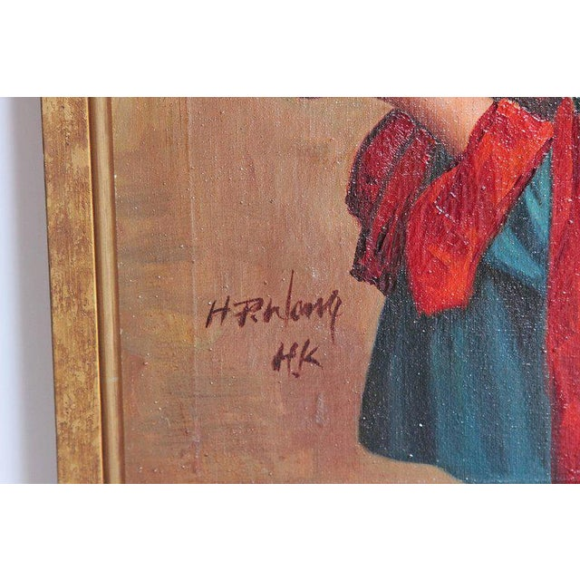 Chinese Oil Painting of Young Girl Carrying Baby For Sale In Dallas - Image 6 of 12