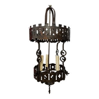 1920s Gothic Hanging Bronze Lantern For Sale