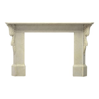 Decorative White Marble Fireplace Mantel For Sale