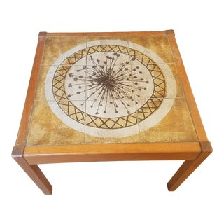1960s Danish Modern MoblerGangso Signed Tile Top Teak Coffee Table For Sale