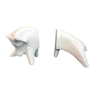Jonathan Adler Ceramic Bull Bookends - a Pair