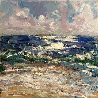"""Abstract Expressionist Original """"Outer Banks, North Carolina Seascape #4"""" Oil Painting by Rebecca Dvorak For Sale"""