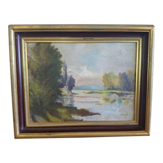 Lake Side View Painting by Carol For Sale