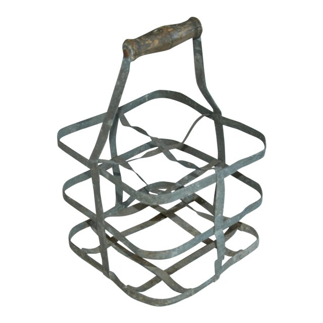 1930s French Gray Porte Bouteille Zinc 4-Bottle Wine Carrier For Sale