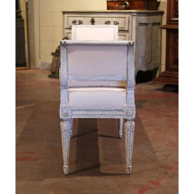 19th Century French Louis Philippe Carved and Painted Banquette With Back For Sale In Dallas - Image 6 of 9