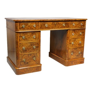Late 19th Century Victorian Burl Walnut Pedestal Desk by Maple & Co For Sale