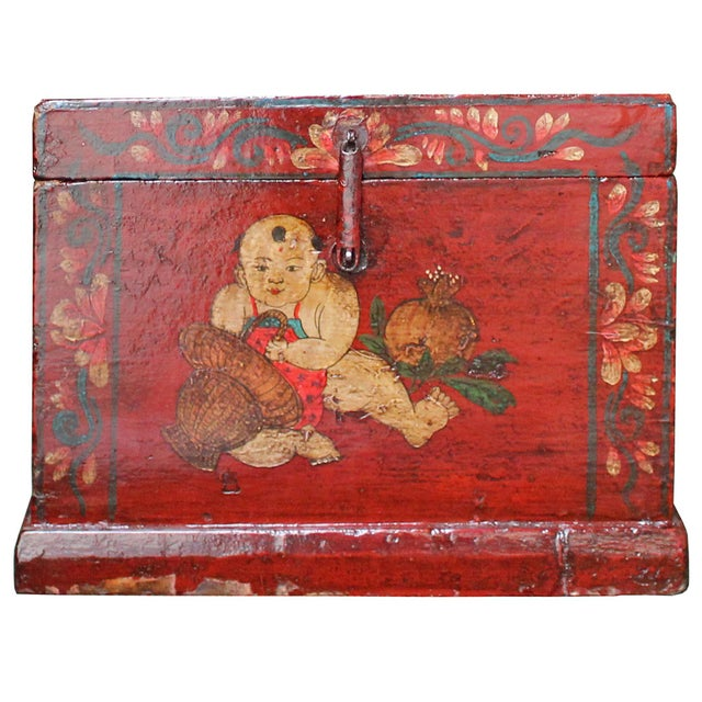 Red Chinese Vintage Red Kids Theme Trunk Box Chest For Sale - Image 8 of 9