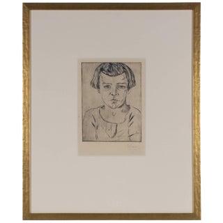 Johannes Fischer Original Vienna Secessionist Etching, Portrait of a , 1922 1922 For Sale