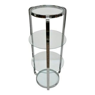 Vintage Mid Century Modern Chrome Frame Round Glass Etagere Stand Curio Shelf For Sale