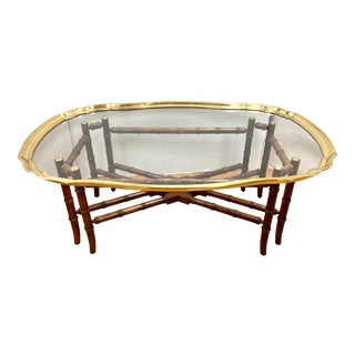 Vintage Brass and Glass Tray Table on Faux Bamboo For Sale