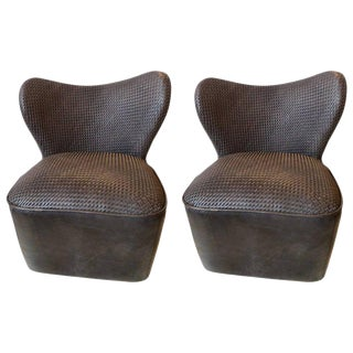 Pair of Modern Woven Charcoal Grey Leather Seat and Backrest Side Chairs