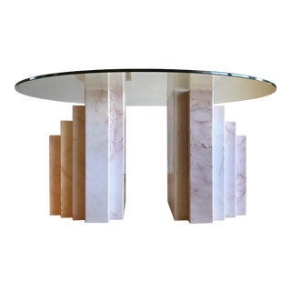 Mid Century Modern Italian Pink-Veined Marble Dining Table With Geometric Stepped Pedestal Bases For Sale