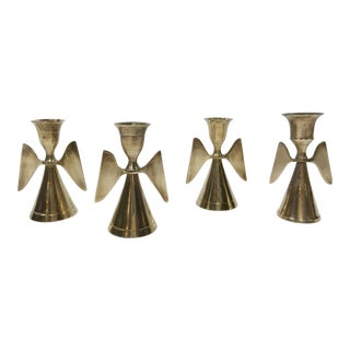 Brass Angel Wing Candleholders, S/4 For Sale