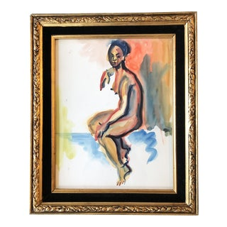 Original Vintage Female Nude Expressionist Watercolor Painting For Sale