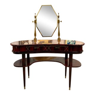 1940s Vintage French Art Deco Macassar Vanity For Sale